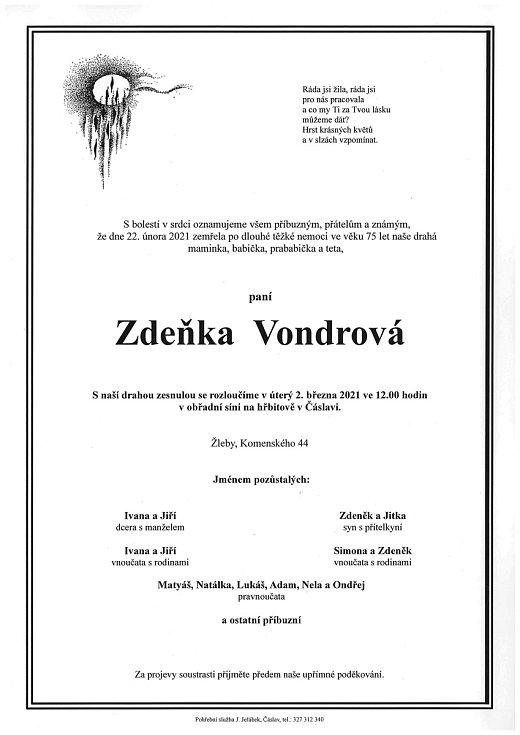 Smuteční parte: Zdeňka Vondrová.