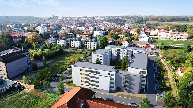 Vizualizace: bytové domy nedaleko bývalé čokoládovny Lidka v Kutné Hoře.