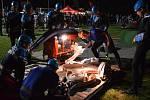 Noční závody v požárním útoku ve Zbraslavicích.