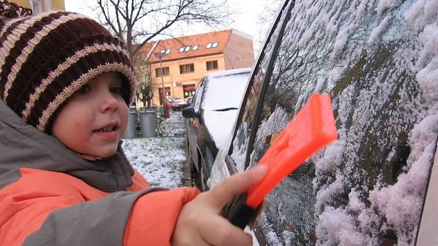 První sníh na Kutnohorsku - 22. listopadu 2008.