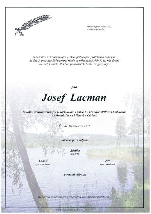 Smuteční parte: Josef Lacman.