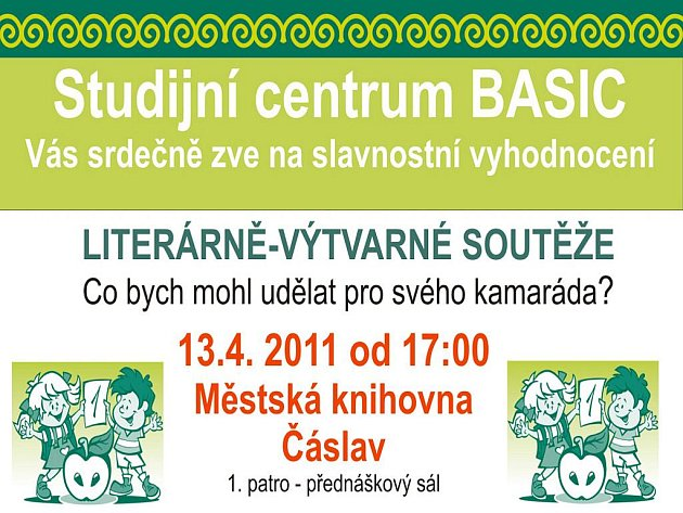Pozvánka na slavnostní vyhodnocení literárně-výtvarné soutěže Studijního centra Basic Čáslav.