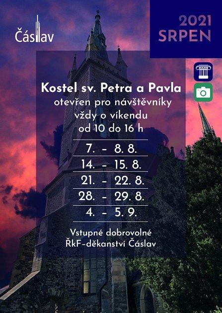 Otevírací doba vkostele sv. Petra a Pavla vČáslavi vsrpnu a září roku 2021.