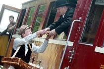 Natáčení čapkovy povídky Příběh sňatkového podvodníka v neděli na uhlířskojanovickém nádraží.