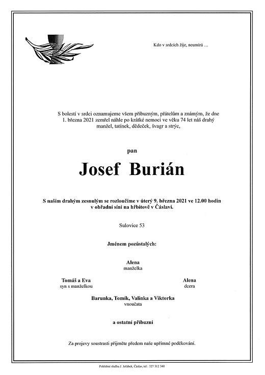 Smuteční oznámení: Josef Burián.
