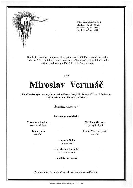 Smuteční oznámení: Miroslav Verunáč.