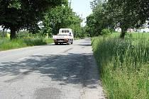 Silnice mezi odbočkou na Vidice a osadou Vysoká.