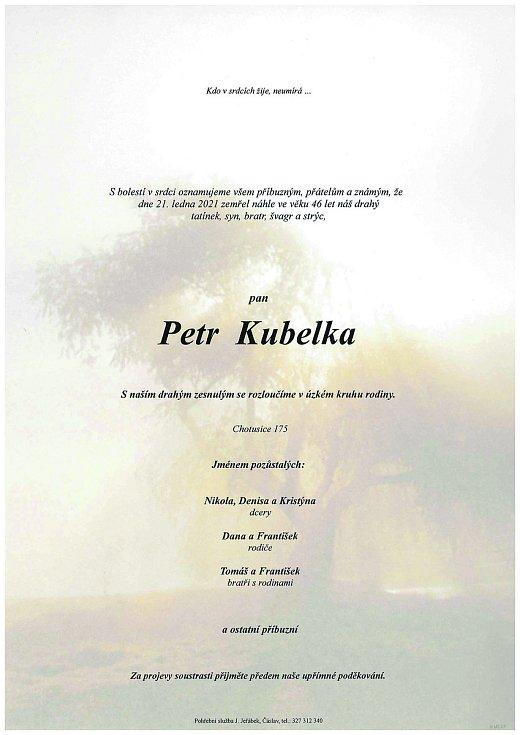 Smuteční parte: Petr Kubelka.