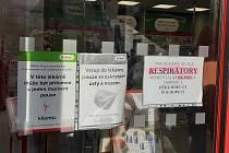 Lékárna Dr. Maxe v Kutné Hoře hlásila v pátek 19. února 2021 vyprodané respirátory.
