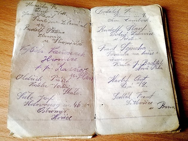 Ve starém deníčku, který si v letech 1919 - 1920 psal Josef Miřijovský, jsou zaznamenány adresy jeho přátel.