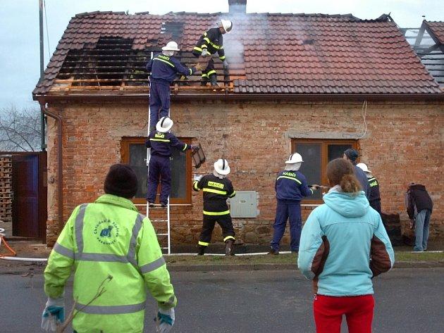 Požár domu ve Svaté Kateřině. 4.2.2013