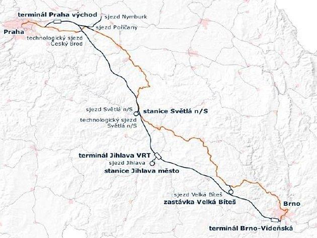 Plánovaná vysokorychlostní trať (VRT) mezi Prahou a Brnem má vést také přes území Kutnohorska.