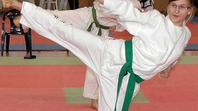 Martina Kopecká při ukázkovém stranovém kopu na Czech Open 2008