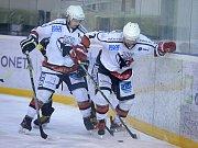 Rozhodující bitva čtvrtfinále play off krajské hokejové ligy. Čáslav - Velké Popovice 3:2 po prodloužení.