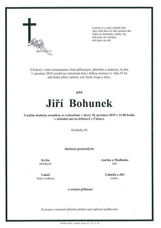 Smuteční parte: Jiří Bohunek.
