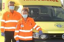 Posádka Zdravotnické záchranné služby v Kutné Hoře: řidič Martin a záchranářka Stanislava.