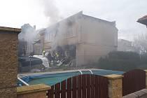Požár kotle na tuhá paliva ve sklepě rodinného domu ve Žlebech.