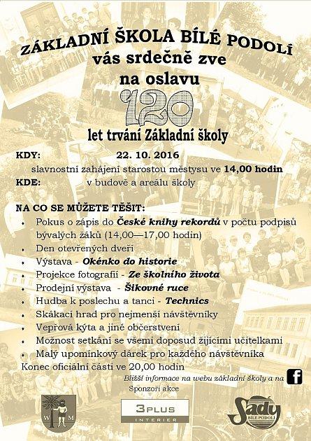 Pozvánka na oslavu 120let Základní školy vBílém Podolí.