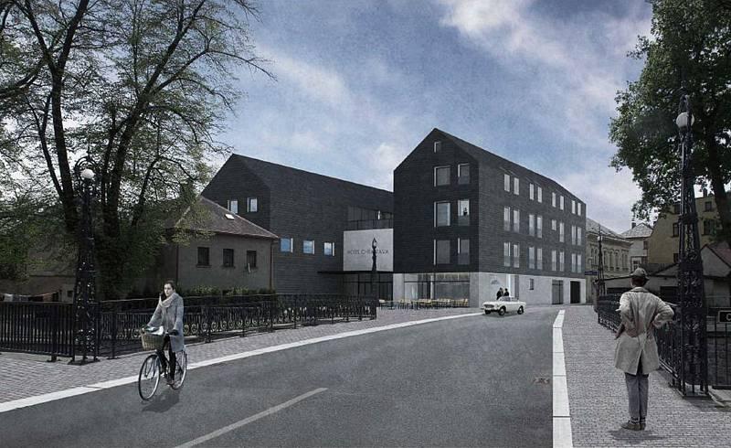 Pro město Chrastavu řešilo Regionální kontaktní centrum dostavbu proluky v centru. V tomto případě autor navrhl hotel s kulturním sálem. M. Čunát, ateliér Hendrych, 2016.