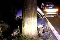 Osobní automobil narazil do stromu. Spolujezdec se zranil.