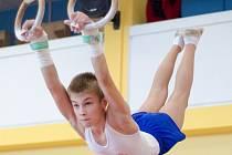 TOMÁŠ BRADÁČ z oddílu Gymnastika Liberec absolvuje cvičení na kruzích.