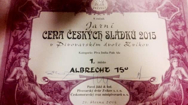 CENA pro speciál Albrecht IPA 15.