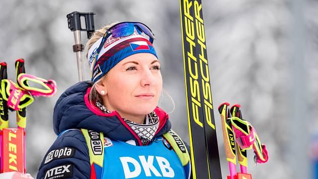 Česká biatlonistka Lucie Charvátová.