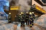 Požár sauny v harrachovském hotelu.