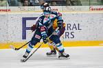 Dohrávka zápasu 11. kola Tipsport extraligy ledního hokeje se odehrála 26. února v liberecké Home Credit areně. Utkaly se celky Bílí Tygři Liberec a HC Dukla Jihlava. Na snímku v modrém Jan Ordoš.
