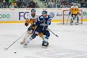 Dohrávka zápasu 11. kola Tipsport extraligy ledního hokeje se odehrála 26. února v liberecké Home Credit areně. Utkaly se celky Bílí Tygři Liberec a HC Dukla Jihlava. Na snímku v modrém Michal Bulíř.
