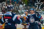 Dohrávka zápasu 11. kola Tipsport extraligy ledního hokeje se odehrála 26. února v liberecké Home Credit areně. Utkaly se celky Bílí Tygři Liberec a HC Dukla Jihlava. Na snímku vpravo Mário Bližňák.