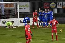 Zápas 16. kola první fotbalové ligy: FC Zbrojovka Brno - FC Slovan Liberec, 22. ledna 2021 v Brně. Oslava druhého gólu v síti Brna.
