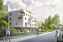 Vizualizace ukazuje, jak měla vypadat stavba bytového domu v Legionářské ulici.