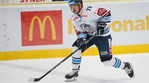 36. kolo extraligy ledního hokeje mezi Bílí Tygři Liberec a HC Kometa Brno.  Na snímku Libor Hudáček