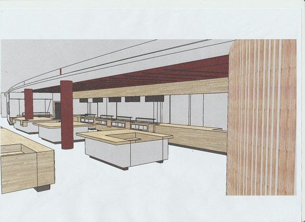 VIZUALIZACE prostoru svýdejními pulty. Za nimi by měla být otevřená kuchyň.