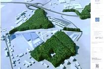 PLÁNY. Obří automuzeum by mělo podle záměrů Svatopluka Holaty vyrůst na kopci mezi lesoparkem (vlevo) a ústit velkým parkovištěm až u vratislavického hřbitova.