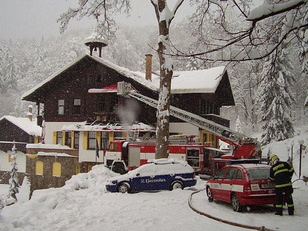 Požár hotelu Orion v Liberci.