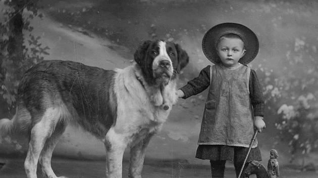 SVATOBERNARDSKÝ PES S MALÝM CHLAPCEM. Po roce 1900.