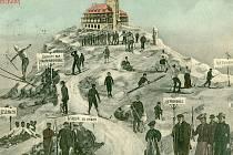 Historická pohlednice z počátku minulého století, která zachycuje Ještěd.
