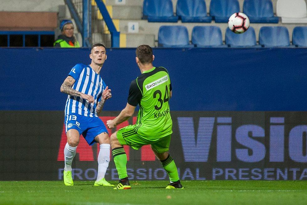 Zápas 14. kola první fotbalové ligy mezi týmy FC Slovan Liberec a FK Mladá Boleslav se odehrál 5. listopadu na stadionu U Nisy v Liberci. Na snímku vlevo Roman Potočný.