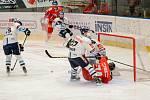 Hokejisté Mory (v červeném) hostili v zápase 28. kola extraligy Liberec.