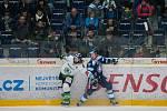 Utkání 31. kola Tipsport extraligy ledního hokeje se odehrálo 20. prosince v liberecké Home Credit areně. Utkaly se celky Bílí Tygři Liberec a BK Mladá Boleslav. Na snímku zleva Jan Hanzlík a Jan Stránský.