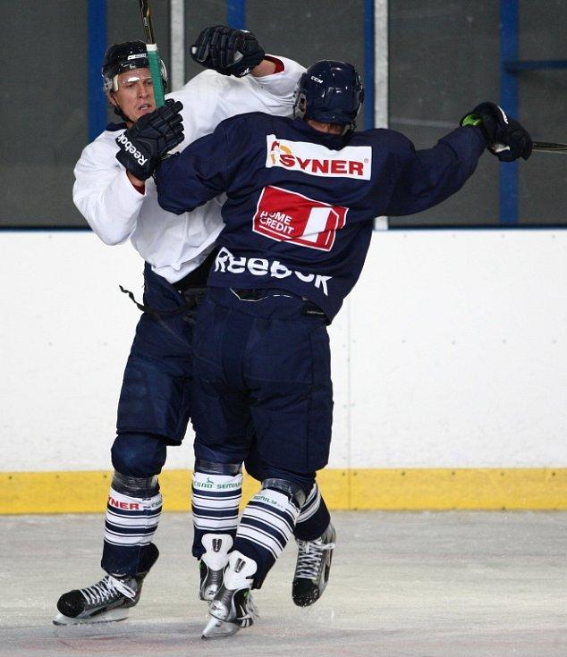 MARIAN JELÍNEK včera vedl první trénink na ledě se svými novými svěřenci, hráči Bílých Tygrů Liberec.