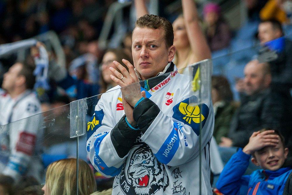 Dohrávka zápasu 11. kola Tipsport extraligy ledního hokeje se odehrála 26. února v liberecké Home Credit areně. Utkaly se celky Bílí Tygři Liberec a HC Dukla Jihlava. Na snímku je fanoušek Liberce.