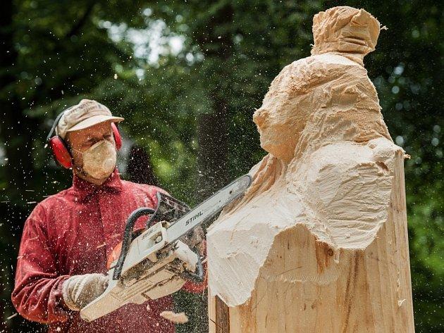 Z kusů dřeva vznikají v Lidových sadech sochy.