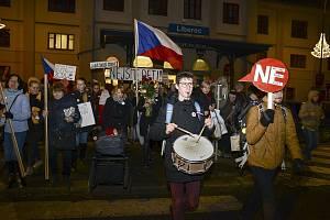 Protestní akce proti Andreji Babišovi v Liberci.