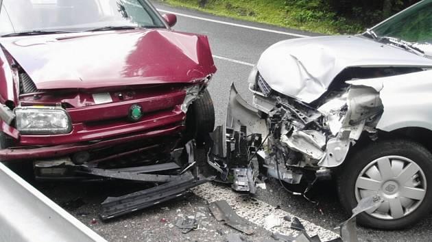 Nehoda na silnici vedoucí ze Železného Brodu na Loužnici.