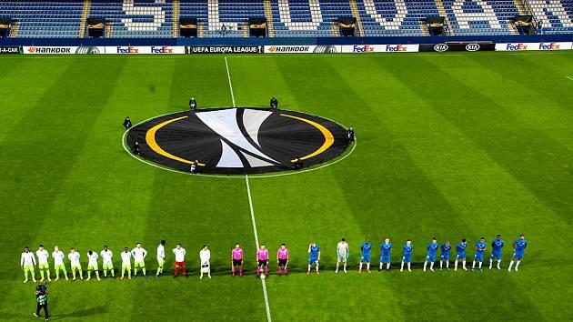 Fotbalisté Slovanu před zápasem s belgickým Gentem.