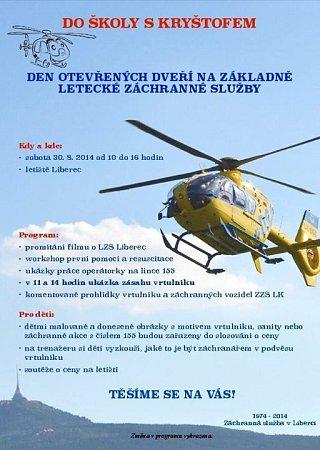 Letečtí záchranáři zvou na Den otevřených dveří.