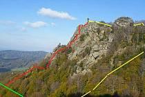 Via ferrata na Frýdlantské cimbuří je na mapce nakreslena červeně.